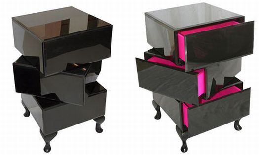 black lacquered three drawer bedside table 5965