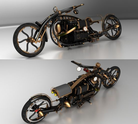 black widow steampunk chopper 05