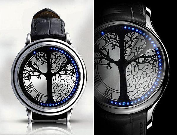 blue hybrid touchscreen led watch