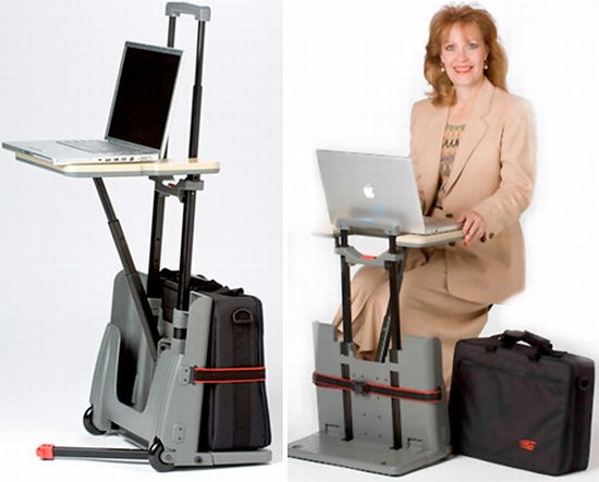 Rolling Luggage CartDesk allows you to use your laptop anytime ...