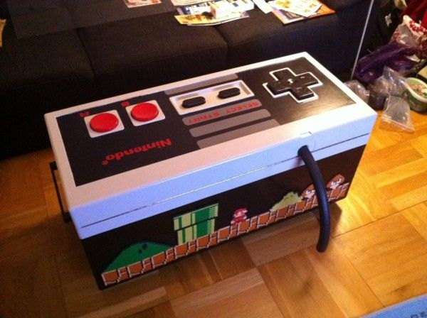 coffee table crafted as playable nes controller