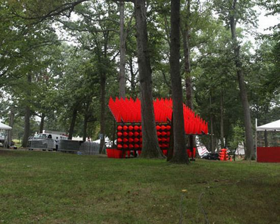 concert pavilion made from traffic cones 01