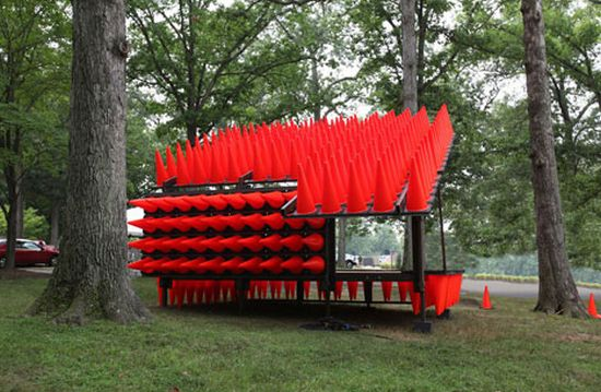 concert pavilion made from traffic cones 02