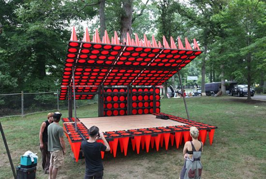 concert pavilion made from traffic cones 06