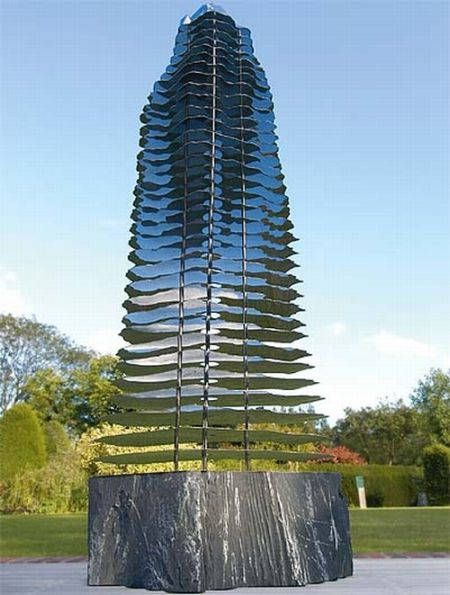contemporary garden monolith kernel sculpture