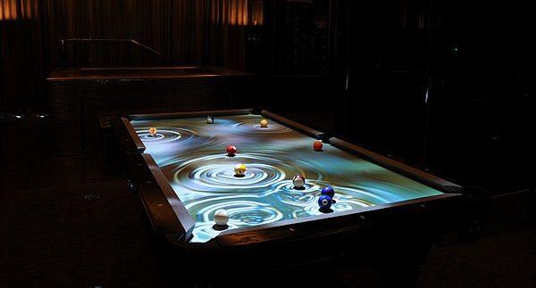 cuelight interactive pool table system breaks into brilliant light display designbuzz