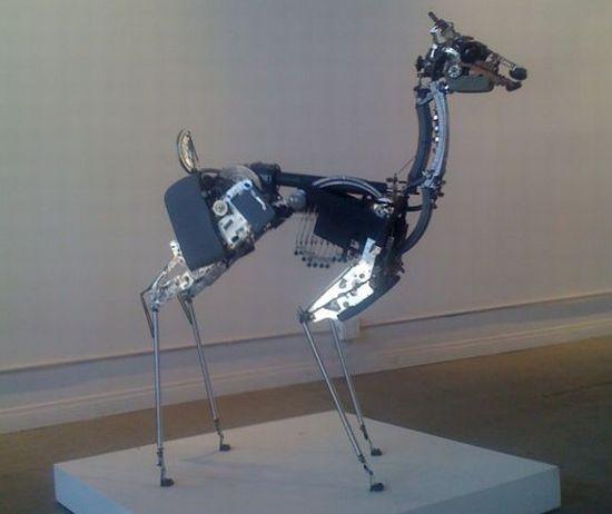 deer made from typewriter parts 03