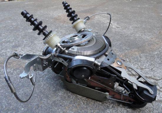 deer made from typewriter parts 04