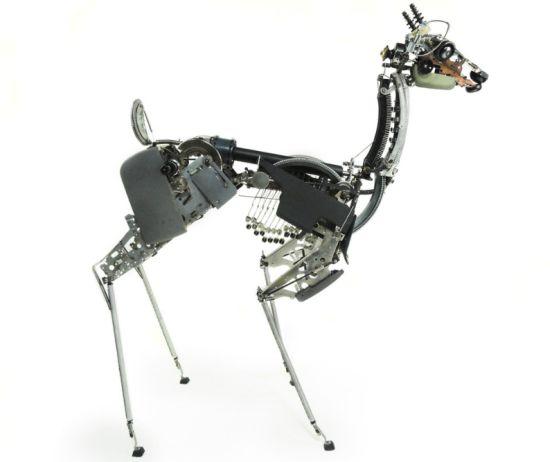 deer made from typewriter parts
