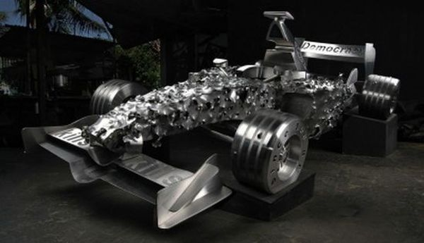 F1 car replicas with bullets shots