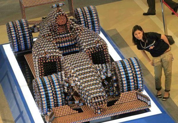 F1 replica from Red Bull energy drink bottles