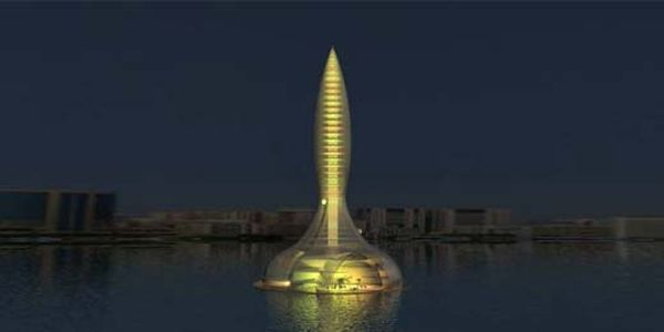 Floating and rotating hoteltower