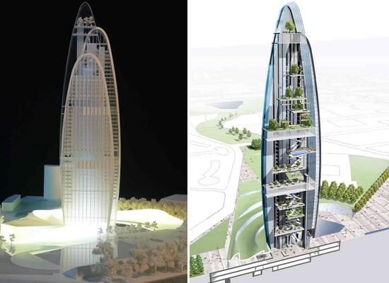 green vertical tower dHnPj 5784
