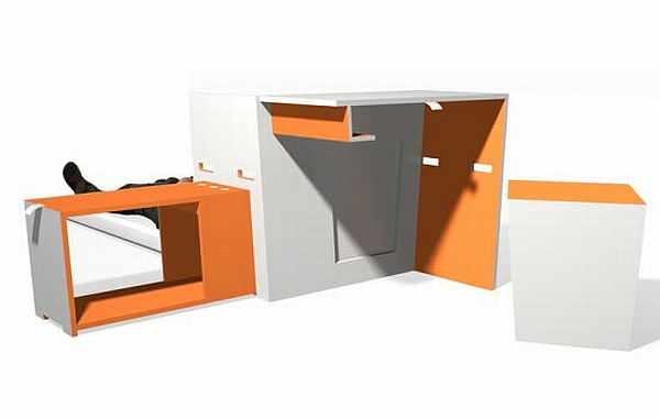 Seven portable furniture units for pact urban