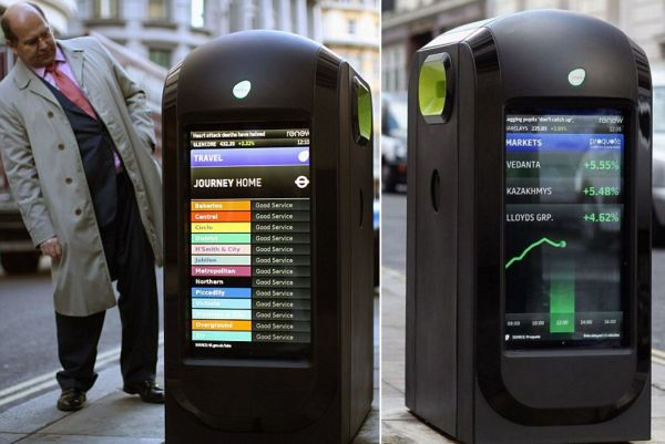LCD-equipped smart recycle bins