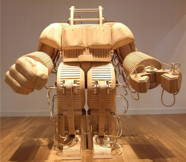 Michael T Rea wooden robot sculpture
