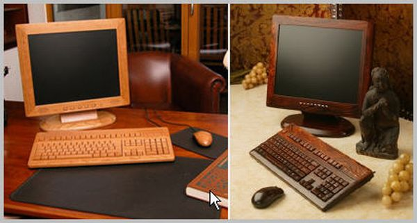 Monitor, Keyboard & Mouse Made in Wood