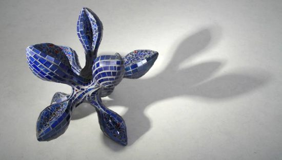 orchid shaped glass mosaic