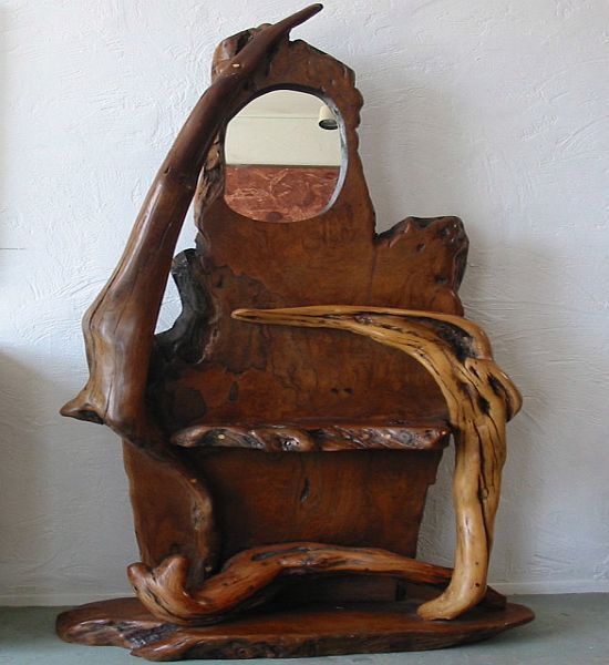 organic wood sculpture with mirror