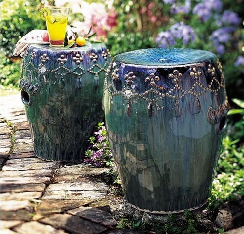 These Peacock Inspired Stools Are Radiant In The Backyard.