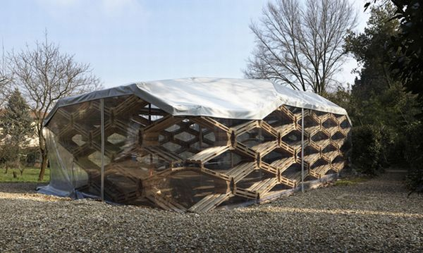 Demountable pavilion crafted using recycled pallets | Designbuzz