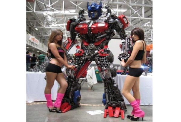 Recycled Steel Optimus Prime Transformer