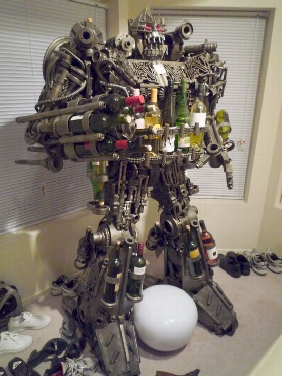 Scrap Metal Transformer Wine Rack