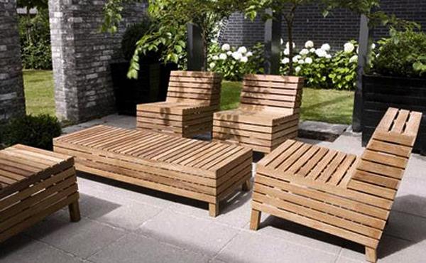 Captivating patio design ideas designbuzz - Natural wood outdoor furniture ...