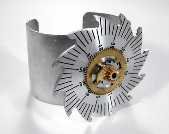 steampunk bracelet sawtooth silver gear on brushed