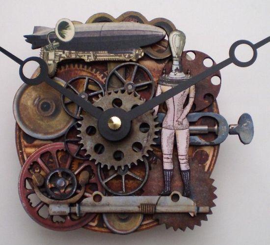 steampunk clockworks zeppelin clock 01