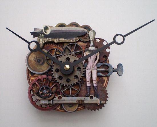 steampunk clockworks zeppelin clock