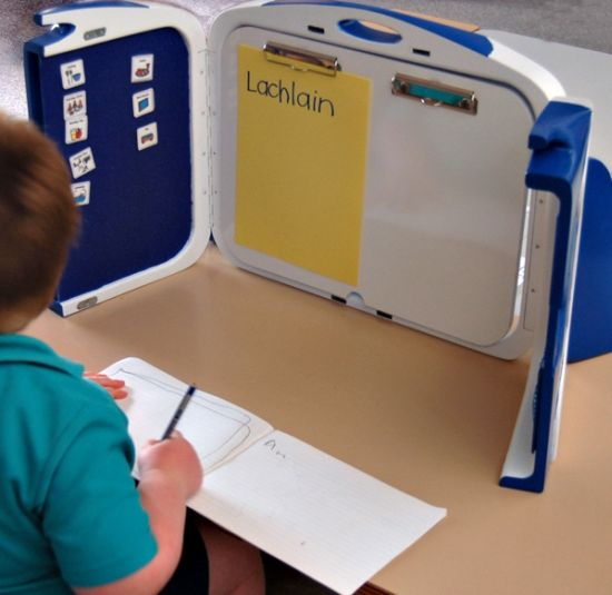 Classroom Workstation Ideas ~ Study nook collapsible workstation for children with