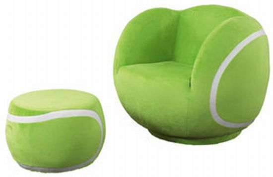 tennis ball chair and footstool