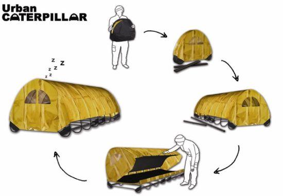 Urban Caterpillar Is An Instant Housing For Homeless