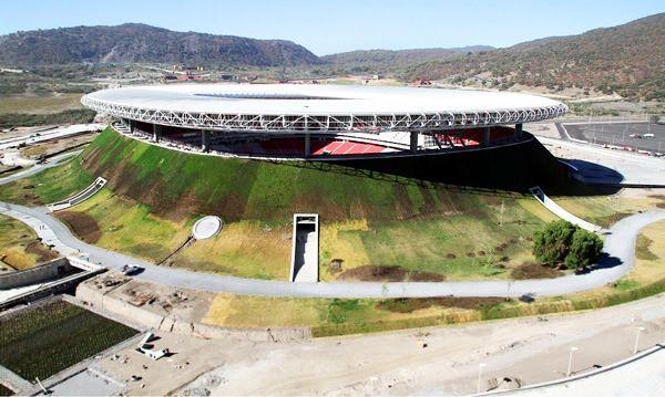 Volcano-shaped soccer stadium
