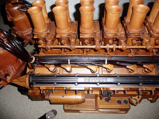 wooden v12 ferrari engine1