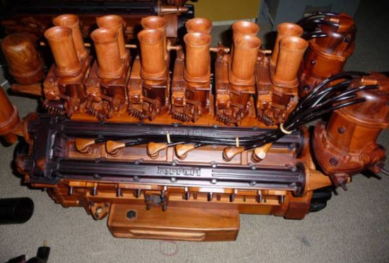 wooden v12 ferrari engine