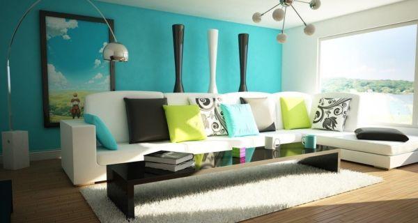 Living-room-interior-design-white-sofa-blue-backdrop