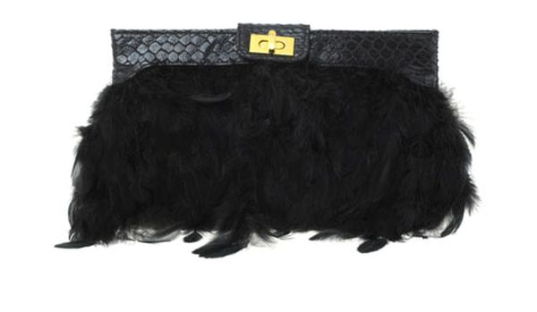 asos feather clutch
