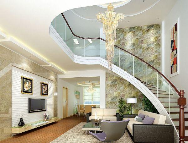 Brick-wall-bending-stairs-in-villa-living-room