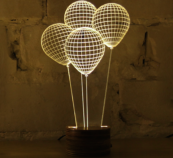 3D Optical Illusion of 2D Lamps