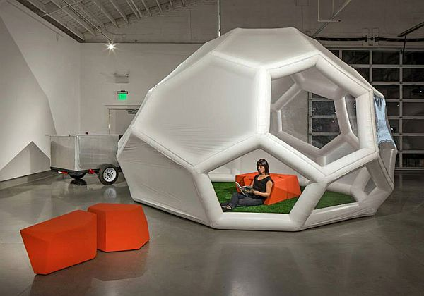 Inflatable mobile dwelling