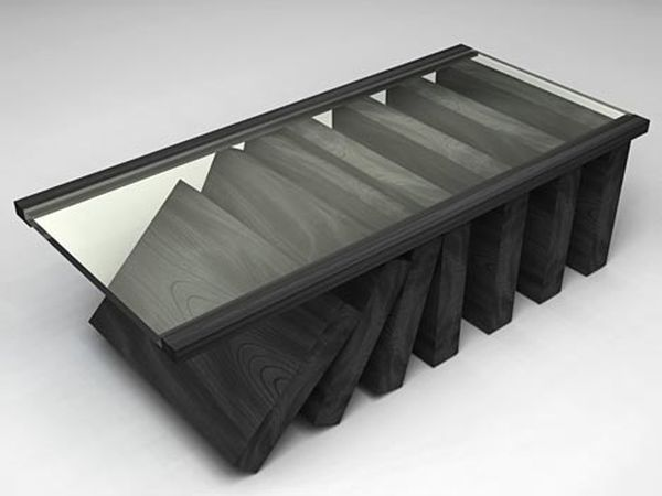 Tilted Wood & Glass Coffee Table Design