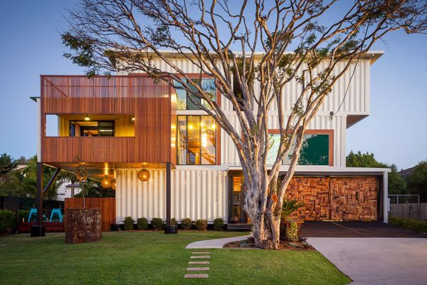Weekend house made from 31 shipping containers