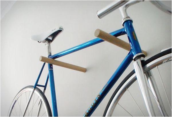 Wooden bike hooks