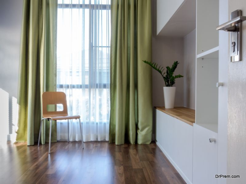 Install curtains across doorways
