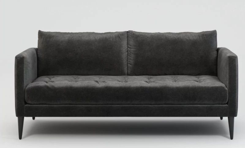 Slate velvet colored two-seater sofa by Lennox