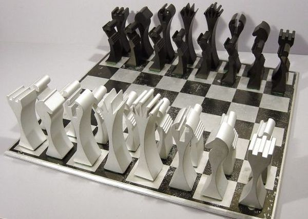 Limited edition chess set made in extruded aluminum