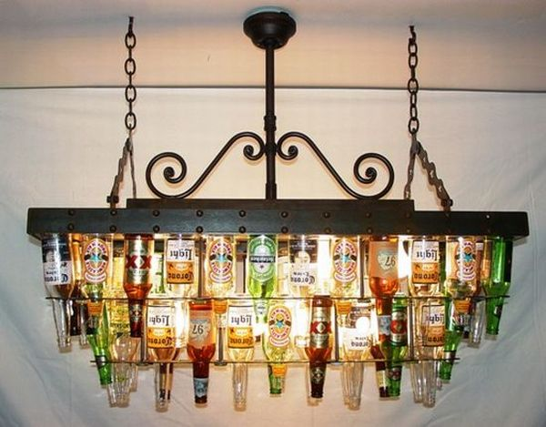An attractive chandelier made of used beer bottles