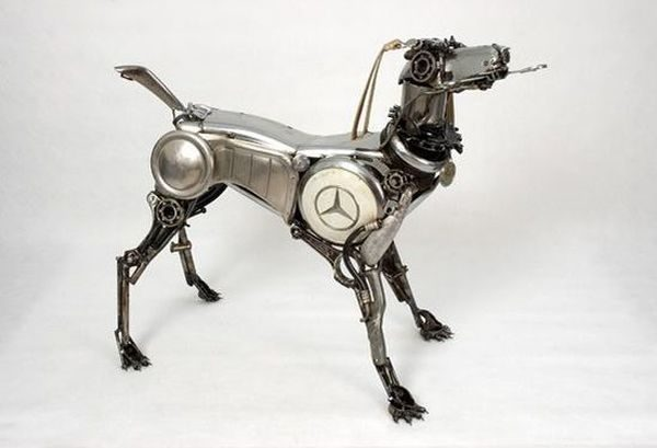 Unique art from old car parts